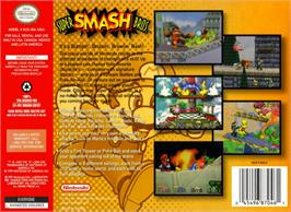 Box back cover for Super Smash Bros. on the Nintendo N64.