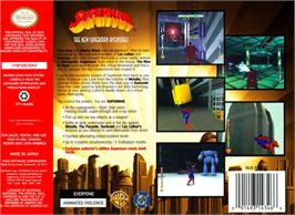 Box back cover for Superman on the Nintendo N64.