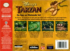 Box back cover for Tarzan on the Nintendo N64.