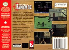 Box back cover for Tom Clancy's Rainbow Six on the Nintendo N64.