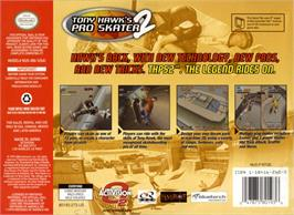 Box back cover for Tony Hawk's Pro Skater 2 on the Nintendo N64.