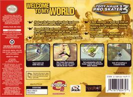 Box back cover for Tony Hawk's Pro Skater 3 on the Nintendo N64.