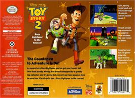 Box back cover for Toy Story 2: Buzz Lightyear to the Rescue on the Nintendo N64.