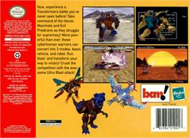 Box back cover for Transformers: Beast Wars Transmetals on the Nintendo N64.