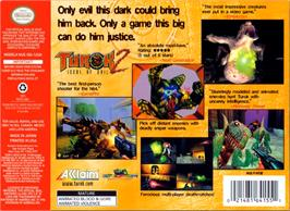 Box back cover for Turok 2: Seeds of Evil on the Nintendo N64.