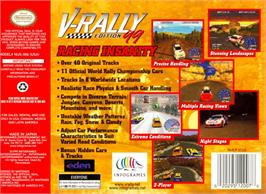Box back cover for V-Rally Edition 99 on the Nintendo N64.