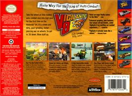 Box back cover for Vigilante 8: 2nd Offense on the Nintendo N64.