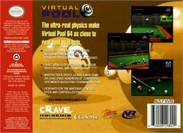 Box back cover for Virtual Pool 64 on the Nintendo N64.