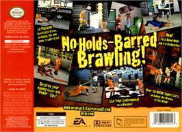 Box back cover for WCW Backstage Assault on the Nintendo N64.