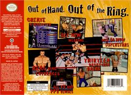 Box back cover for WCW Mayhem on the Nintendo N64.