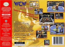 Box back cover for WCW vs. NWO: World Tour on the Nintendo N64.