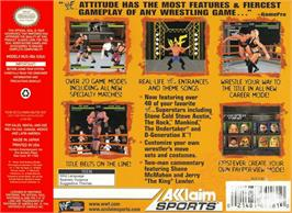 Box back cover for WWF Attitude on the Nintendo N64.