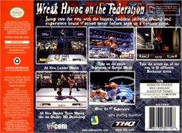 Box back cover for WWF No Mercy on the Nintendo N64.