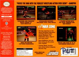 Box back cover for WWF War Zone on the Nintendo N64.