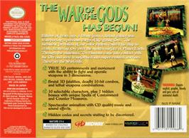 Box back cover for War Gods on the Nintendo N64.
