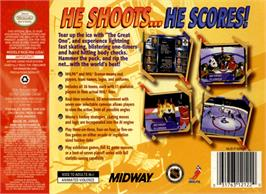 Box back cover for Wayne Gretzky's 3D Hockey on the Nintendo N64.
