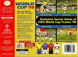 Box back cover for World Cup 98 on the Nintendo N64.