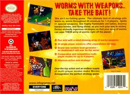 Box back cover for Worms Armageddon on the Nintendo N64.