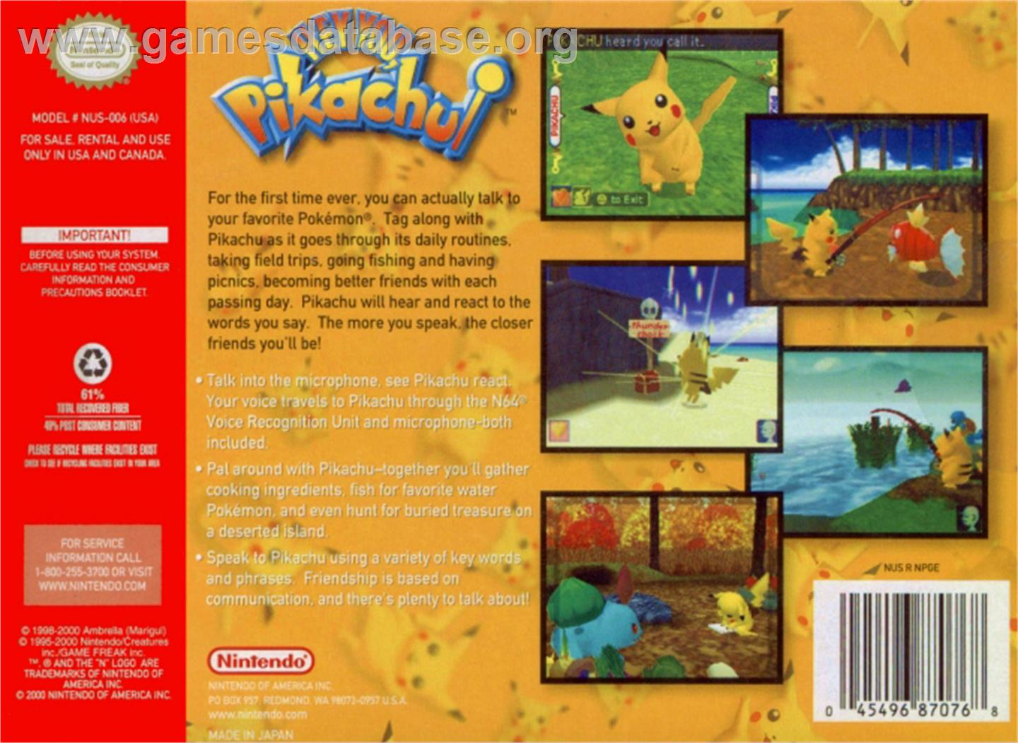 Hey You, Pikachu - Nintendo N64 - Artwork - Box Back