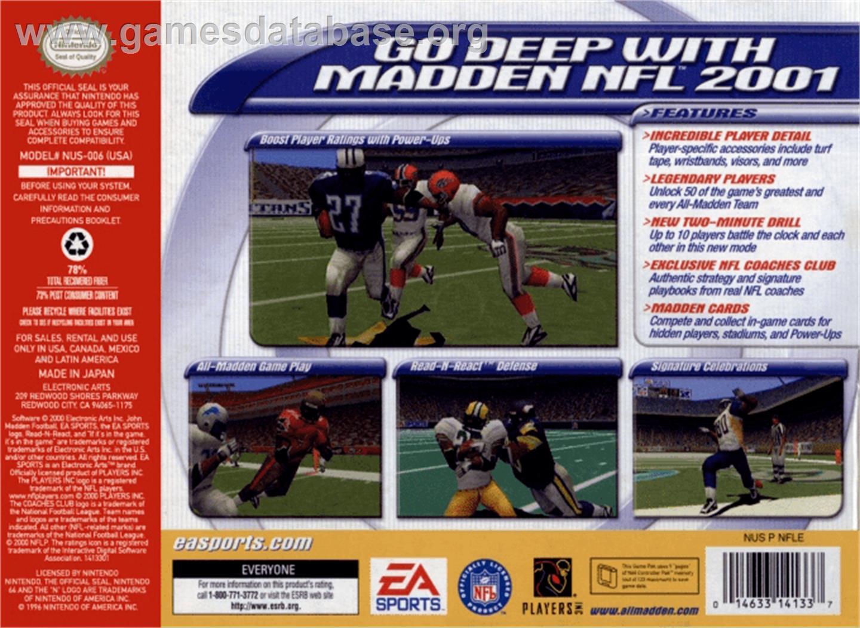 Box back cover for Madden NFL 2001 on the Nintendo N64.