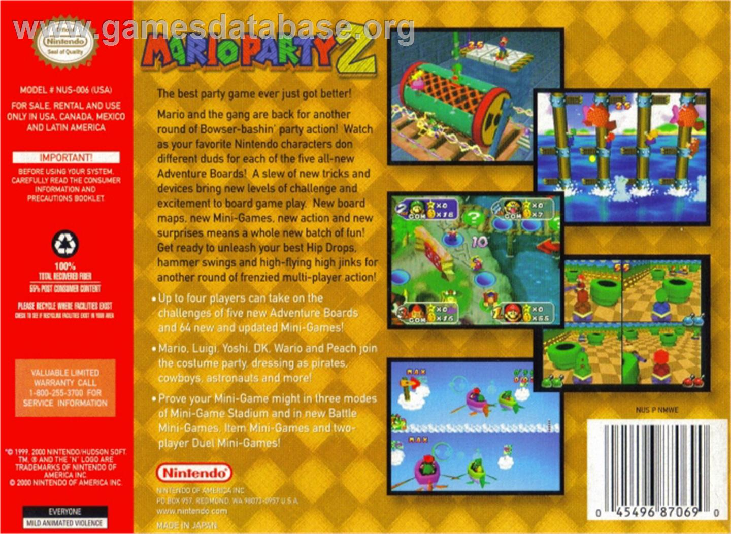 Box back cover for Mario Party 2 on the Nintendo N64.