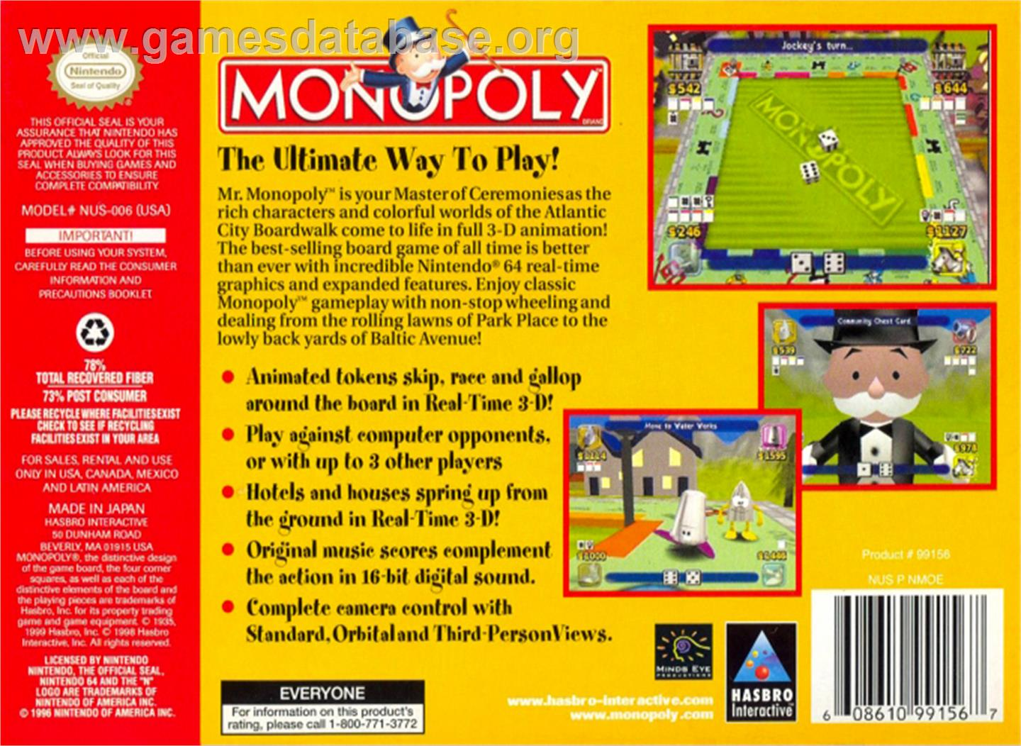 Monopoly - Nintendo N64 - Artwork - Box Back