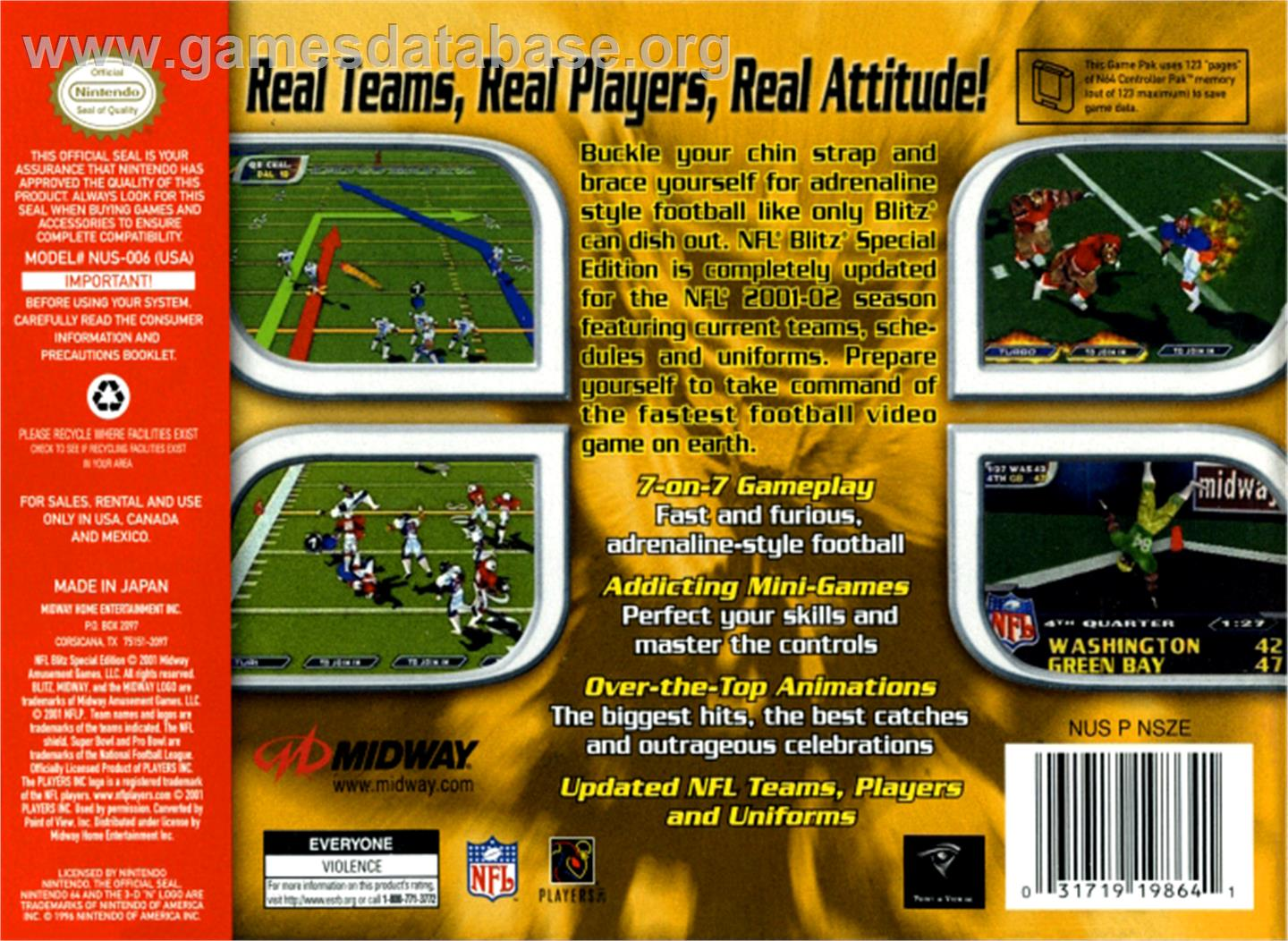 Box back cover for NFL Blitz Special Edition on the Nintendo N64.