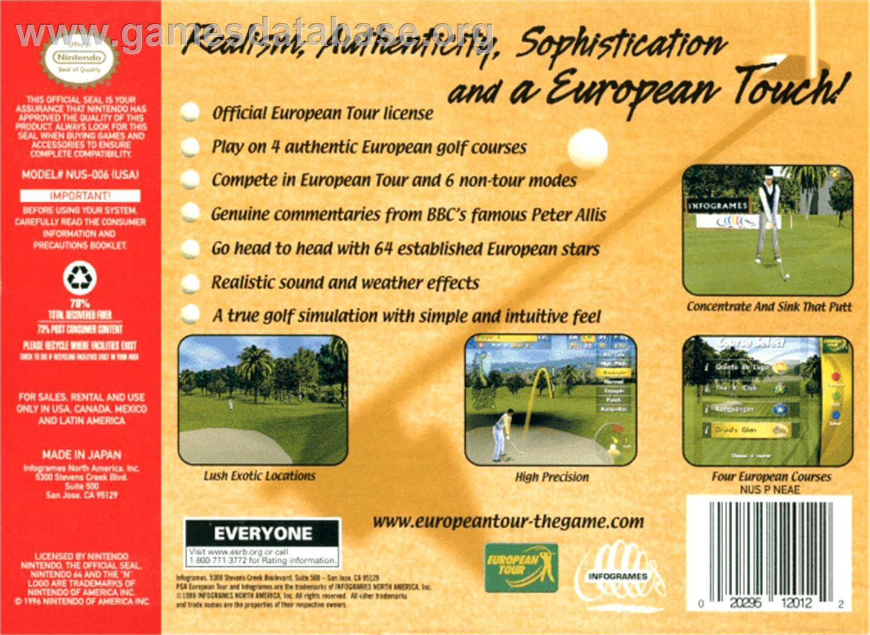 Box back cover for PGA European Tour on the Nintendo N64.