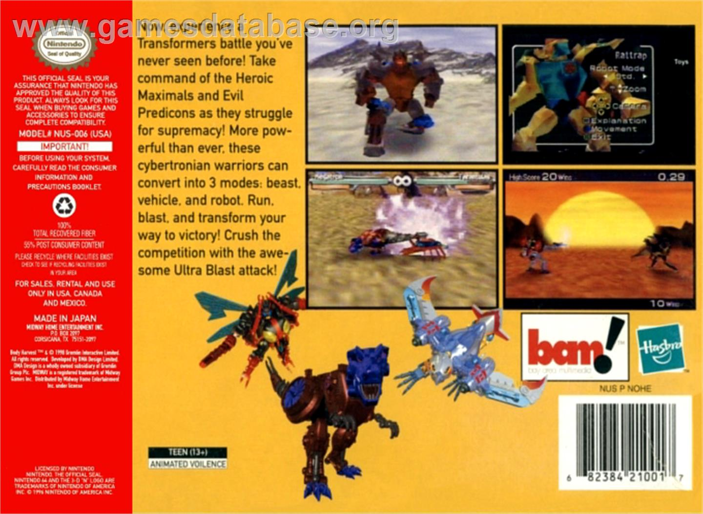 Transformers: Beast Wars Transmetals - Nintendo N64 - Artwork - Box Back
