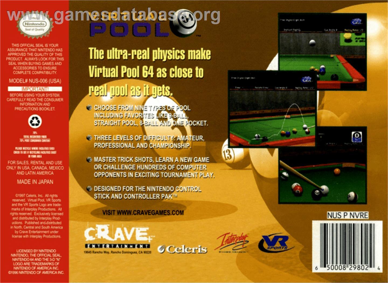 Virtual Pool 64 - Nintendo N64 - Artwork - Box Back
