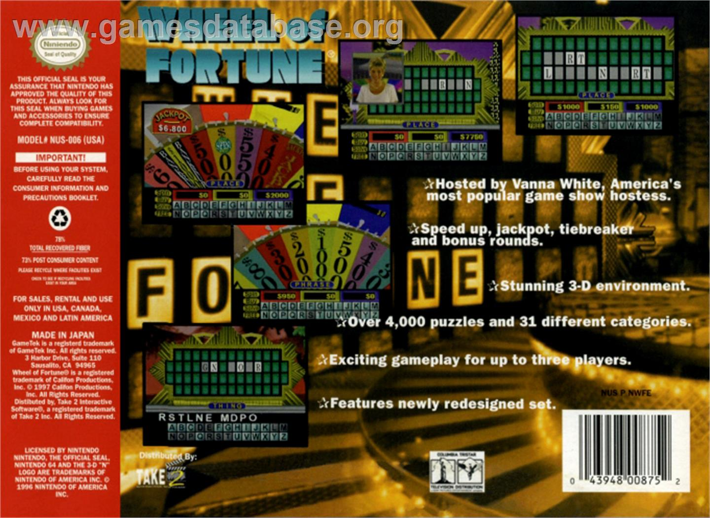 Wheel Of Fortune - Nintendo N64 - Artwork - Box Back