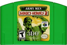 Cartridge artwork for Army Men: Sarge's Heroes 2 on the Nintendo N64.