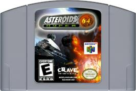Cartridge artwork for Asteroids Hyper 64 on the Nintendo N64.
