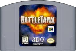 Cartridge artwork for BattleTanx on the Nintendo N64.