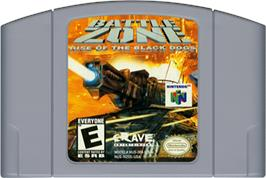 Cartridge artwork for Battle Zone: Rise of the Black Dogs on the Nintendo N64.