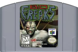Cartridge artwork for BioFreaks on the Nintendo N64.