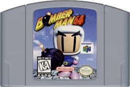 Cartridge artwork for Bomberman 64 on the Nintendo N64.