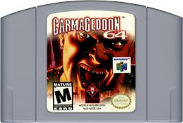 Cartridge artwork for Carmageddon 64 on the Nintendo N64.