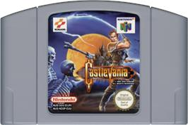 Cartridge artwork for Castlevania on the Nintendo N64.