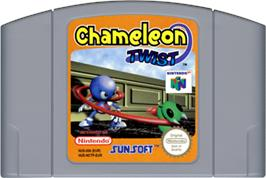 Cartridge artwork for Chameleon Twist on the Nintendo N64.