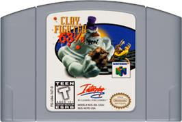 Cartridge artwork for Clay Fighter 63 1/3 on the Nintendo N64.