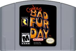 Cartridge artwork for Conker's Bad Fur Day on the Nintendo N64.