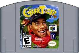 Cartridge artwork for Cyber Tiger on the Nintendo N64.