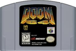 Cartridge artwork for Doom 64 on the Nintendo N64.