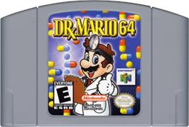 Cartridge artwork for Dr. Mario 64 on the Nintendo N64.