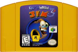 Cartridge artwork for Earthworm Jim 3D on the Nintendo N64.