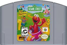 Cartridge artwork for Elmo's Number Journey on the Nintendo N64.