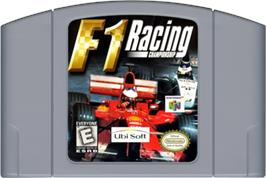 Cartridge artwork for F1 Racing Championship on the Nintendo N64.