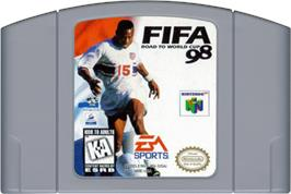 Cartridge artwork for FIFA 98: Road to World Cup on the Nintendo N64.