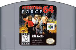 Cartridge artwork for Fighting Force 64 on the Nintendo N64.